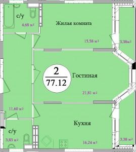 Планировка двухкомнатной квартиры площадью 77,12 м2 ЖК НА ПЕРВОМАЙСКОЙ по улице Первомайская в городе Туле