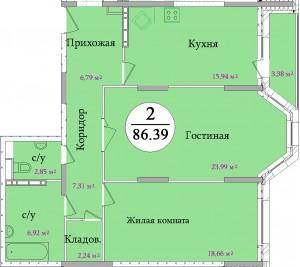 Планировка двухкомнатной квартиры площадью 86,39 м2 ЖК НА ПЕРВОМАЙСКОЙ по улице Первомайская в городе Туле