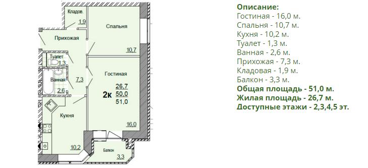 Планировка двухкомнатной квартиры 51,00 м2. 2-ая планировка в жилом доме по улице Глинки 5