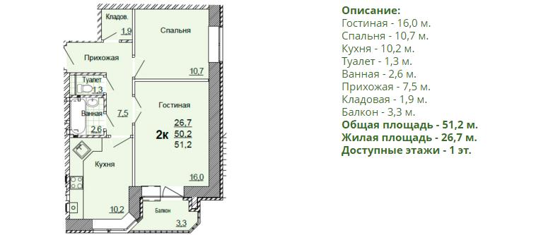 Планировка двухкомнатной квартиры 51,20 м2. 1-ая планировка в жилом доме по улице Глинки 5
