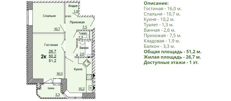Планировка двухкомнатной квартиры 51,20 м2. 2-ая планировка в жилом доме по улице Глинки 5