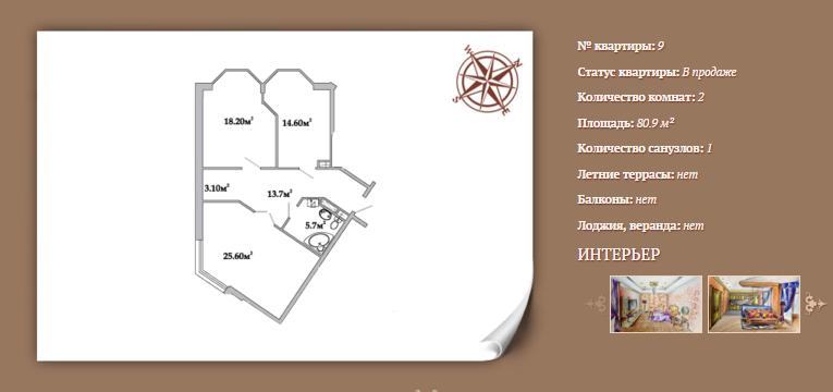 Планировка 2-х комнатной квартиры 80,90 м² ЖК АРИСТОКРАТЪ