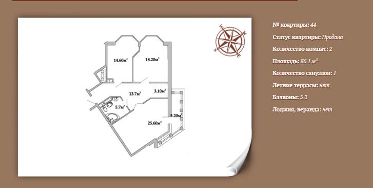 Планировка 2-х комнатной квартиры 86,1 м² ЖК АРИСТОКРАТЪ