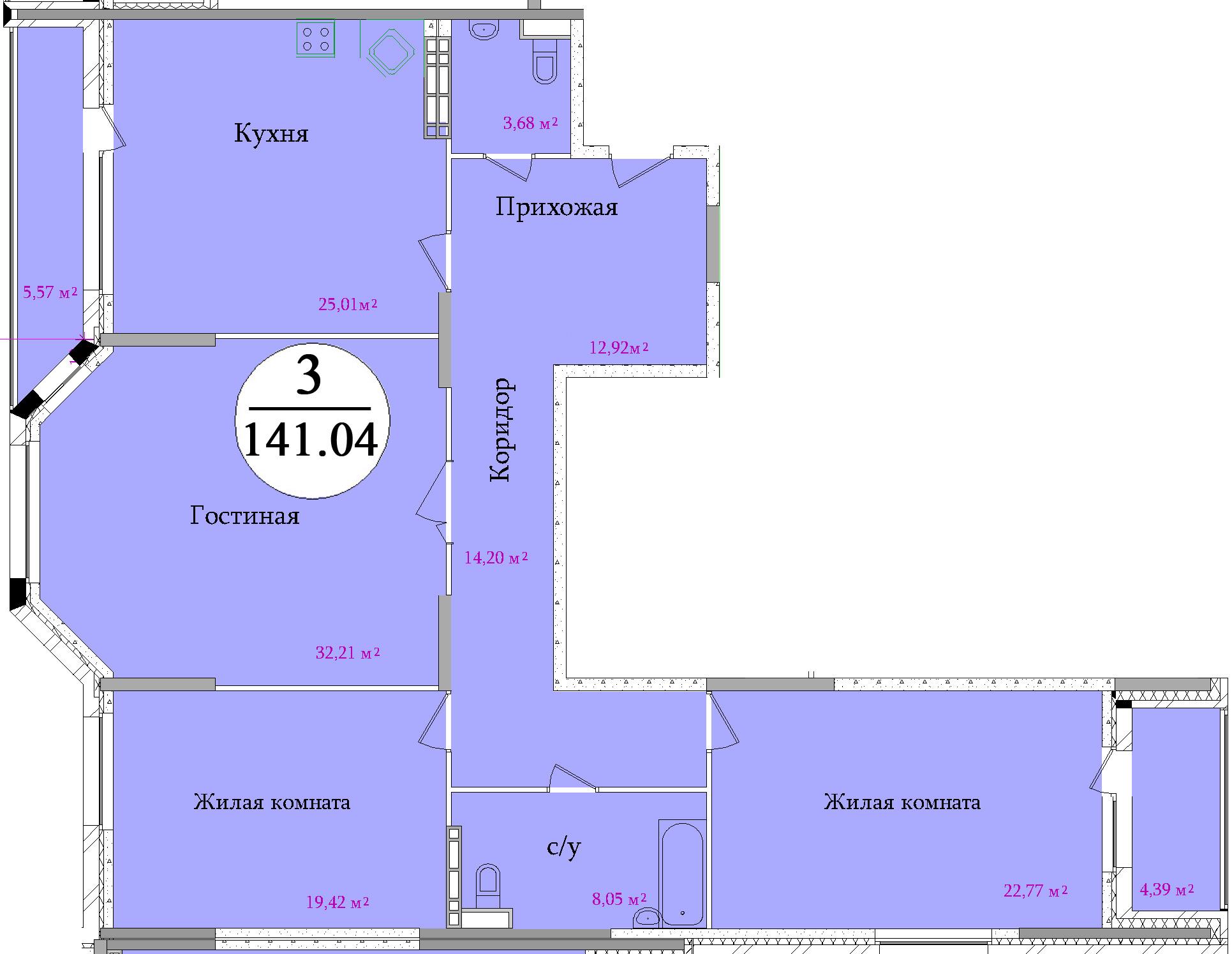 Планировка трехкомнатной квартиры площадью 141,04 м2 ЖК НА ПЕРВОМАЙСКОЙ по улице Первомайская в городе Туле