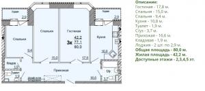 Планировка трехкомнатной квартиры 80,00 м2 в жилом доме по улице Глинки 5