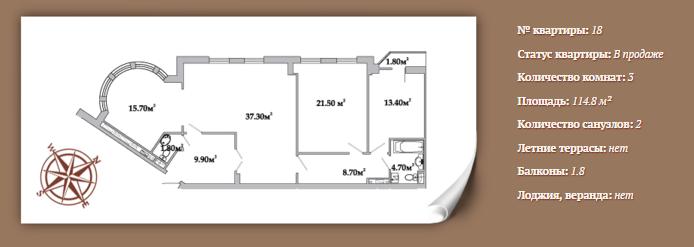 Планировка 3-х комнатной квартиры 114,8 м² ЖК АРИСТОКРАТЪ