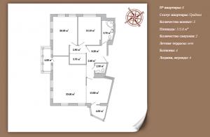 Планировка 3-х комнатной квартиры 115,60 м² ЖК АРИСТОКРАТЪ
