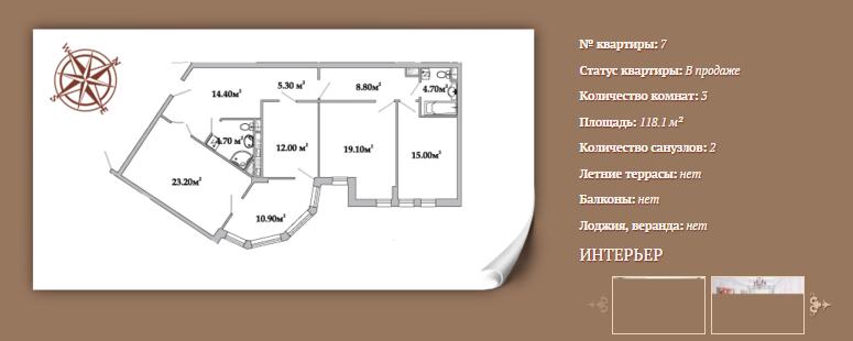Планировка 3-х комнатной квартиры 118,1 м² ЖК АРИСТОКРАТЪ