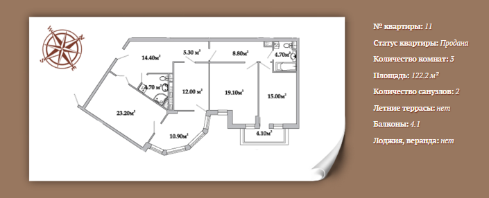 Планировка 3-х комнатной квартиры 122,2 м² ЖК АРИСТОКРАТЪ