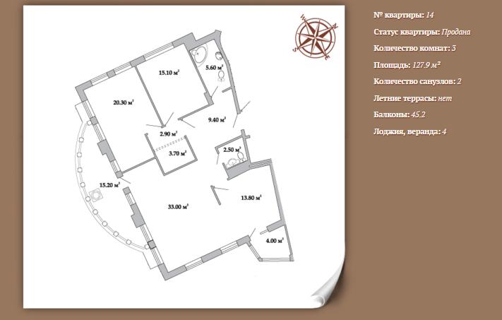 Планировка 3-х комнатной квартиры 127,90 м² ЖК АРИСТОКРАТЪ