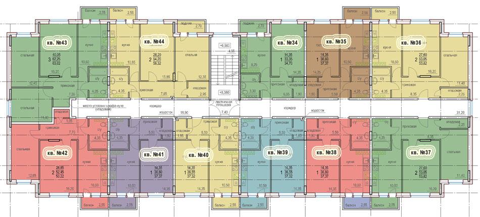 Планировка 4-го этажа 1-го дома ЖК НОВОЕ ЗАРЕЧЬЕ