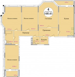 Планировка четырехкомнатной квартиры площадью 168,60 м2 ЖК НА ПЕРВОМАЙСКОЙ по улице Первомайская в городе Туле