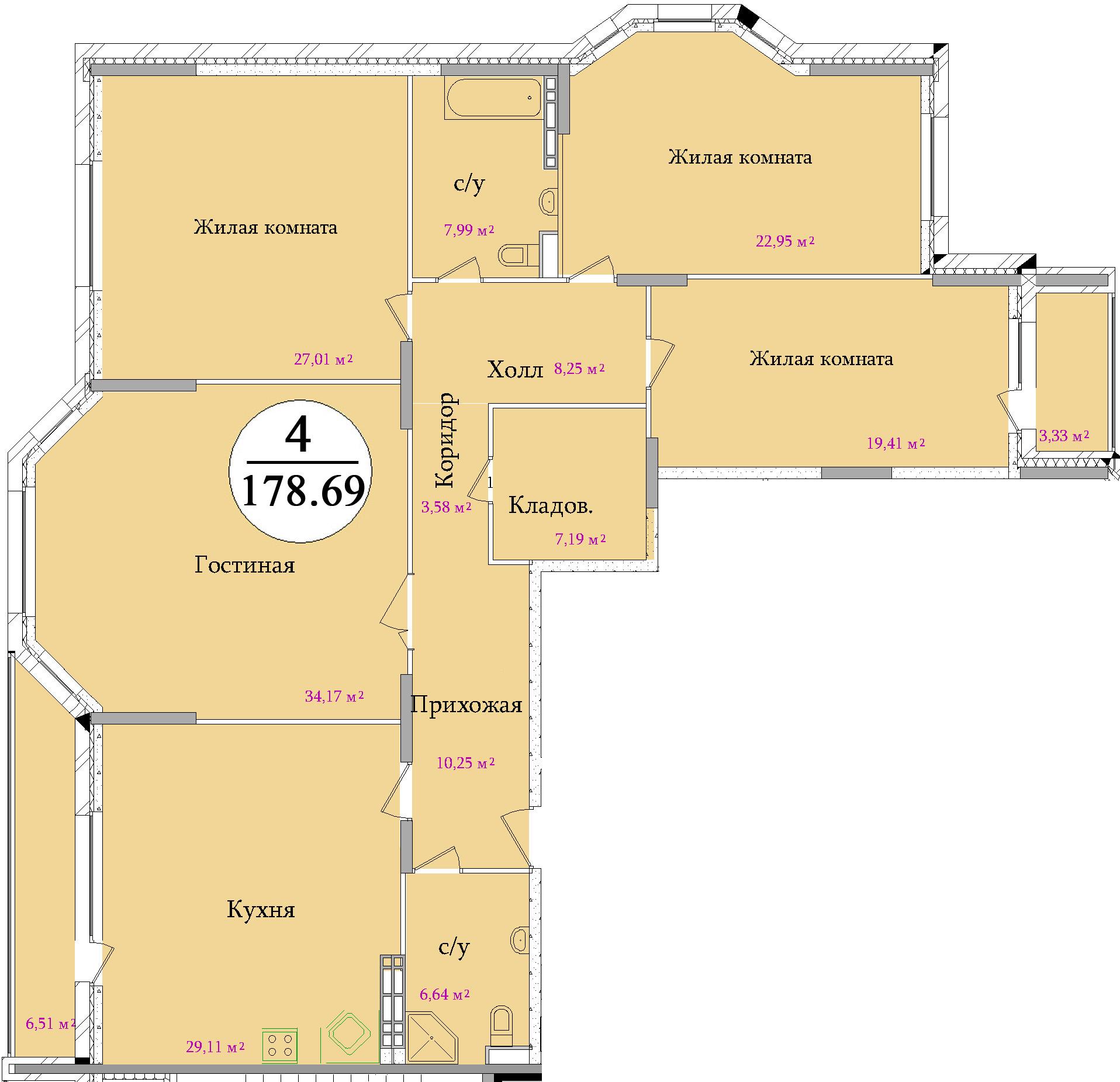 Планировка четырехкомнатной квартиры площадью 178,69 м2 ЖК НА ПЕРВОМАЙСКОЙ по улице Первомайская в городе Туле