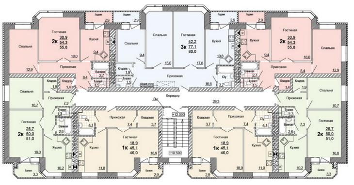 Планировка 5-го этажа жилого дома по улице Глинки 5