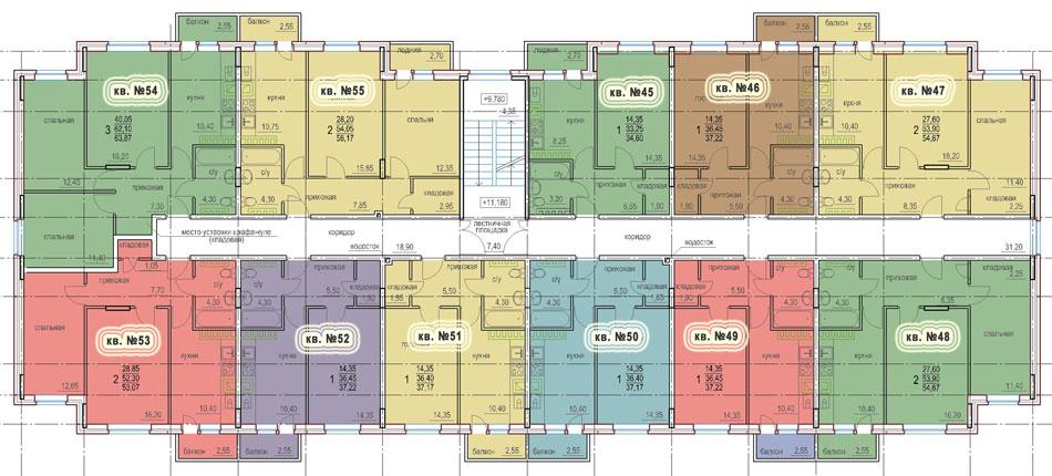Планировка 5-го этажа 1-го дома ЖК НОВОЕ ЗАРЕЧЬЕ