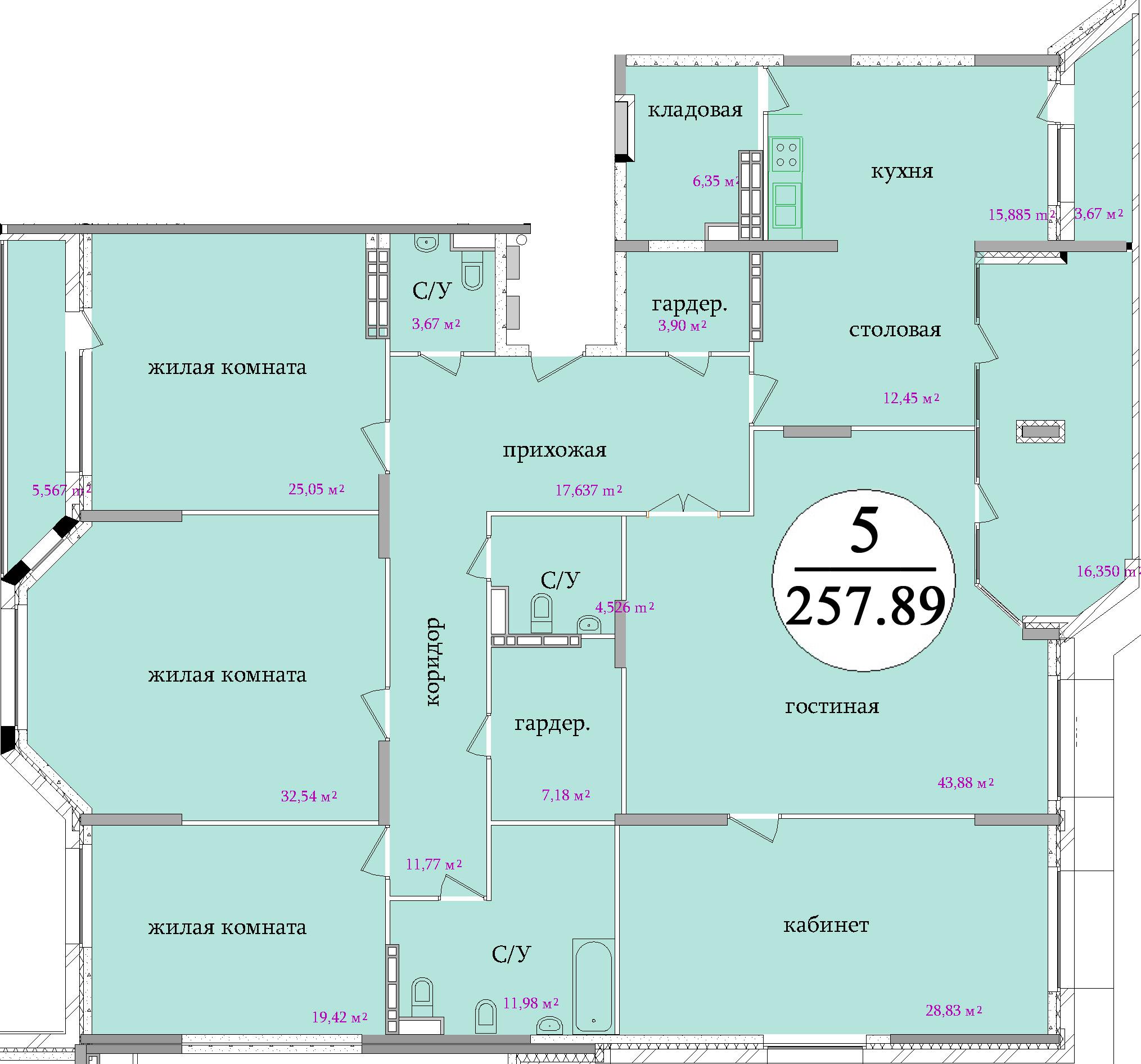 Планировка пятикомнатной квартиры площадью 257,89 м2 ЖК НА ПЕРВОМАЙСКОЙ по улице Первомайская в городе Туле