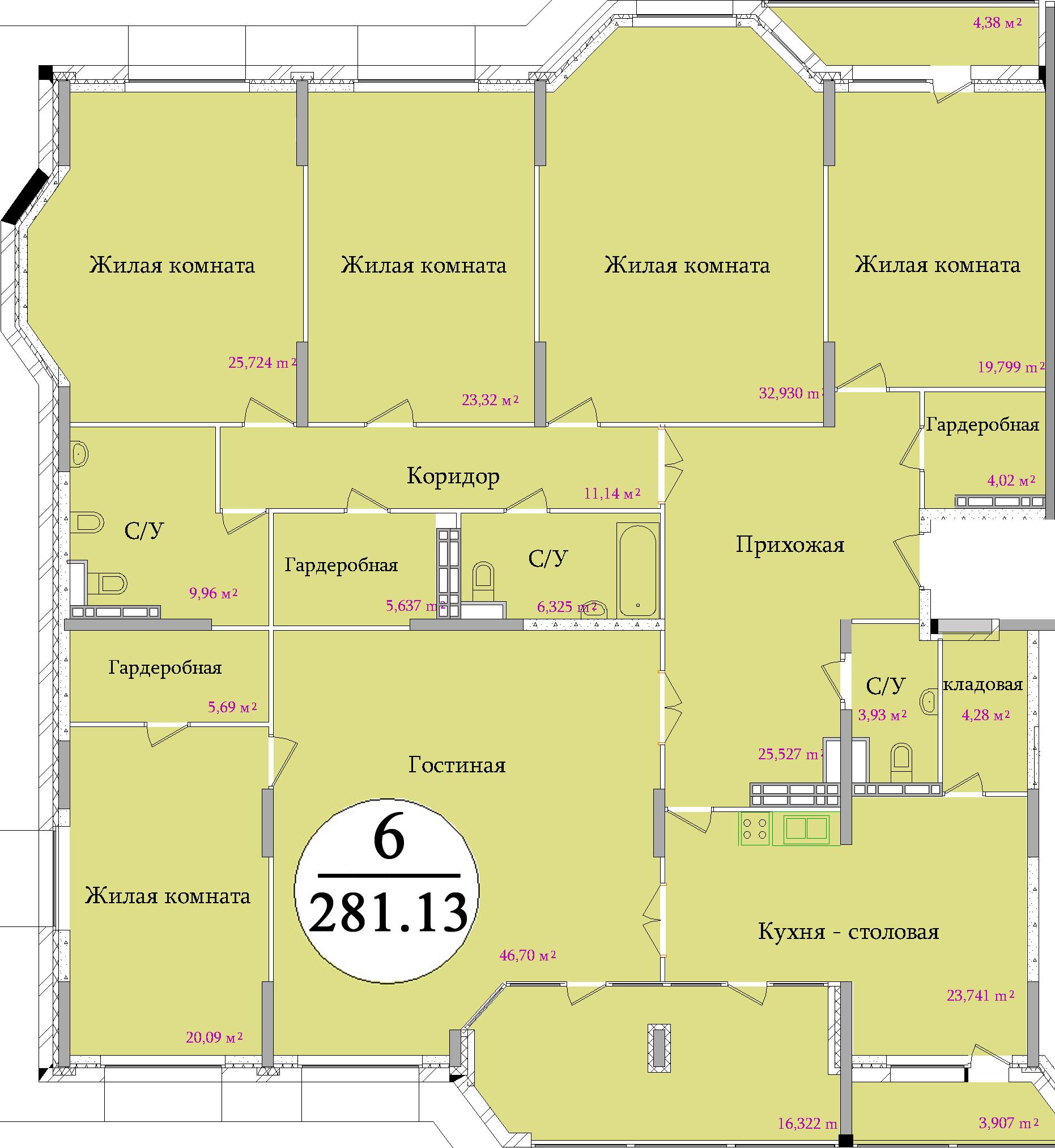 Планировка шестикомнатной квартиры площадью 281,13 м2 ЖК НА ПЕРВОМАЙСКОЙ по улице Первомайская в городе Туле
