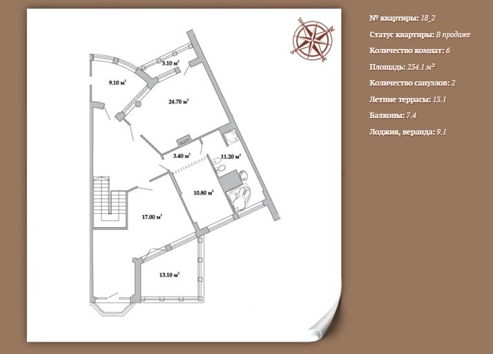 Планировка 6-ти комнатной квартиры 234,10 м² ЖК АРИСТОКРАТЪ