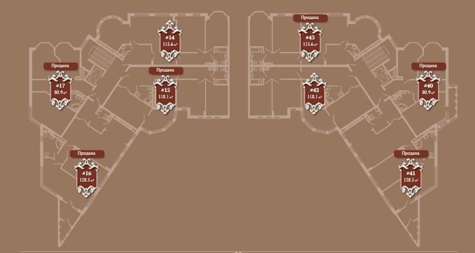Планировка 5-го этажа корпуса А ЖК АристократЪ по ул. Софьи Перовской