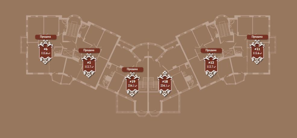 Планировка 4-го этажа корпуса Б ЖК АристократЪ по ул. Софьи Перовской