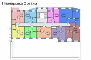 Планировка 2-го этажа 1-го дома ЖК Премьера по улице Октябрьская г. Тула