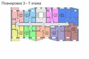 Планировка 3,4,5,6,7-го этажа 1-го дома ЖК Премьера по улице Октябрьская г. Тула