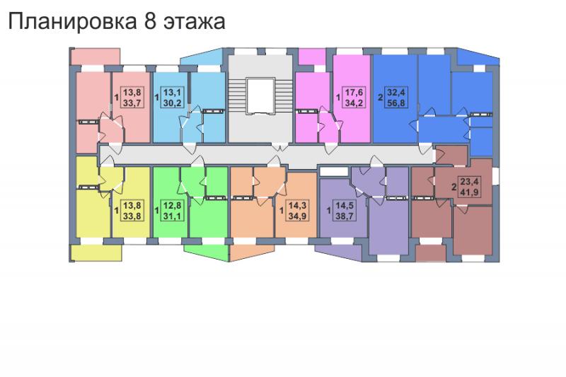 Планировка 8-го этажа 1-го дома ЖК Премьера по улице Октябрьская г. Тула