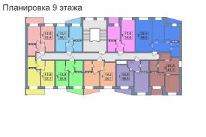 Планировка 9-го этажа 1-го дома ЖК Премьера по улице Октябрьская г. Тула