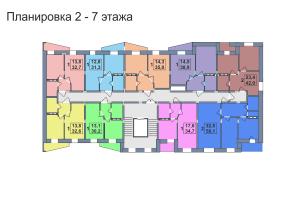 Планировка 2,3,4,5,6,7-го этажа 2-го дома ЖК Премьера по улице Октябрьская г. Тула