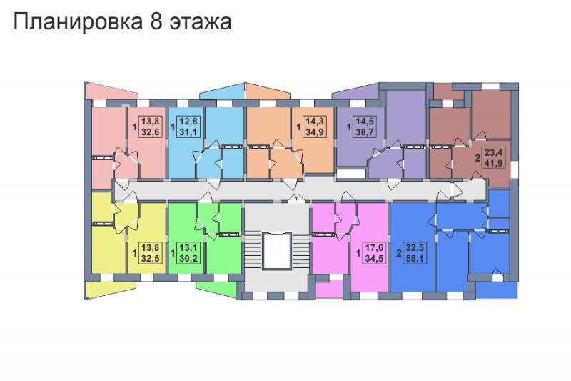 Планировка 8-го этажа 2-го дома ЖК Премьера по улице Октябрьская г. Тула