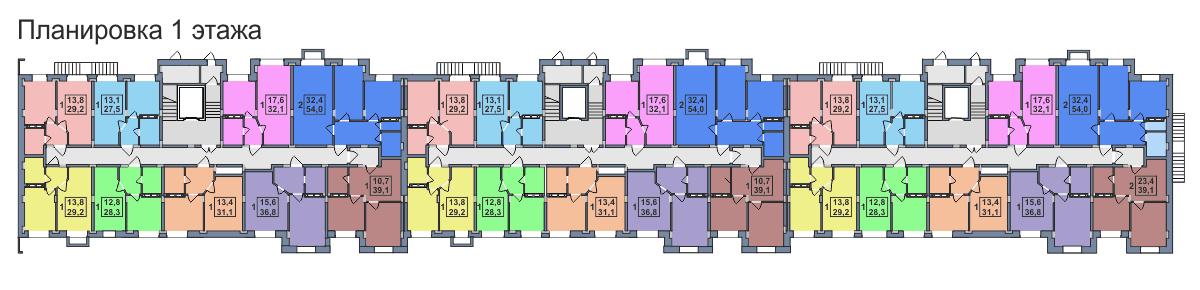 Планировка 1-го этажа 3-го дома ЖК Премьера по улице Октябрьская г. Тула