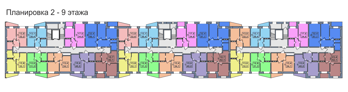 Планировка 2,3,4,5,6,7,8,9-го этажа 3-го дома ЖК Премьера по улице Октябрьская г. Тула
