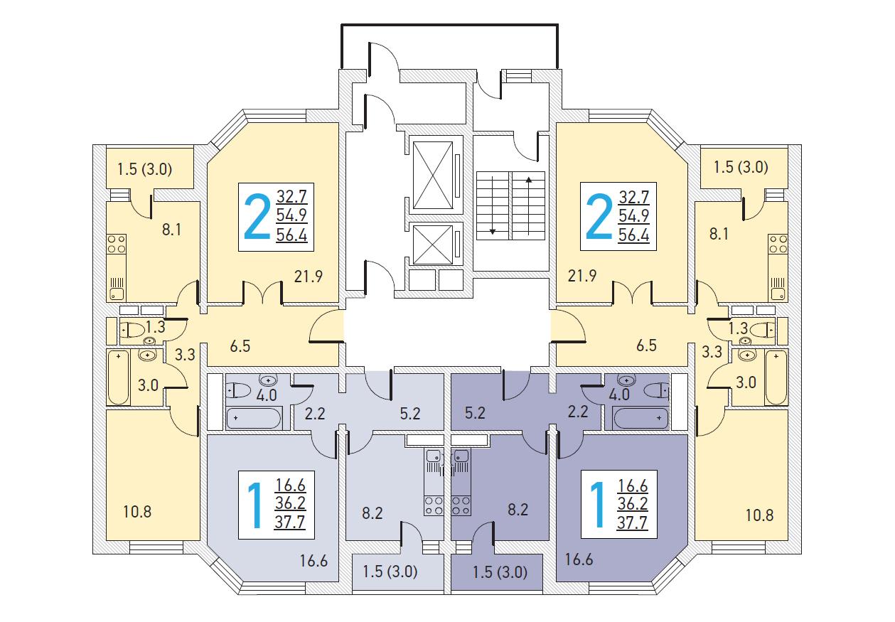 Планировка этажей в доме серии И-155ММ