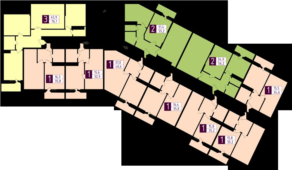 Планировка со 2-го по 9-й этаж ЖК РАССВЕТ