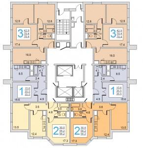 Планировка этажей в доме серии И-155МКБПланировка этажей в доме серии И-155МКБ
