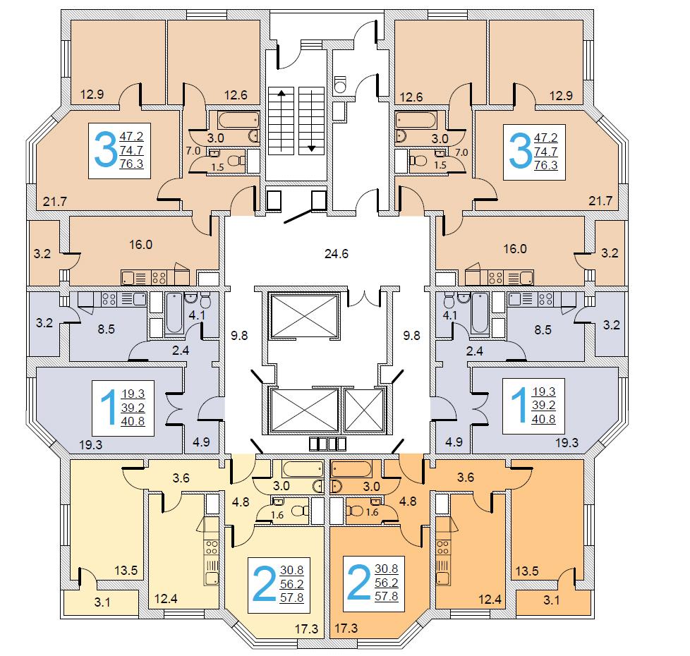 Планировка этажей в доме серии И-155МКБ