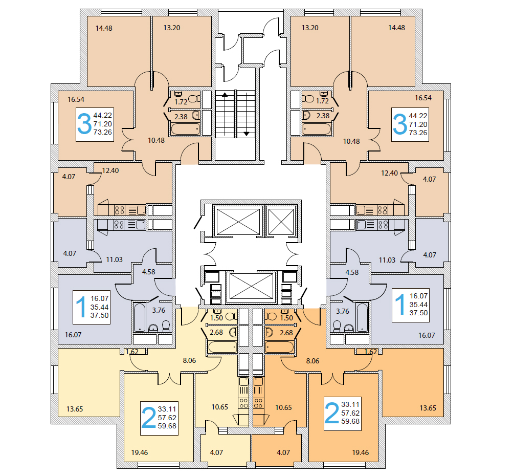Планировка этажей в доме серии И-155НБ
