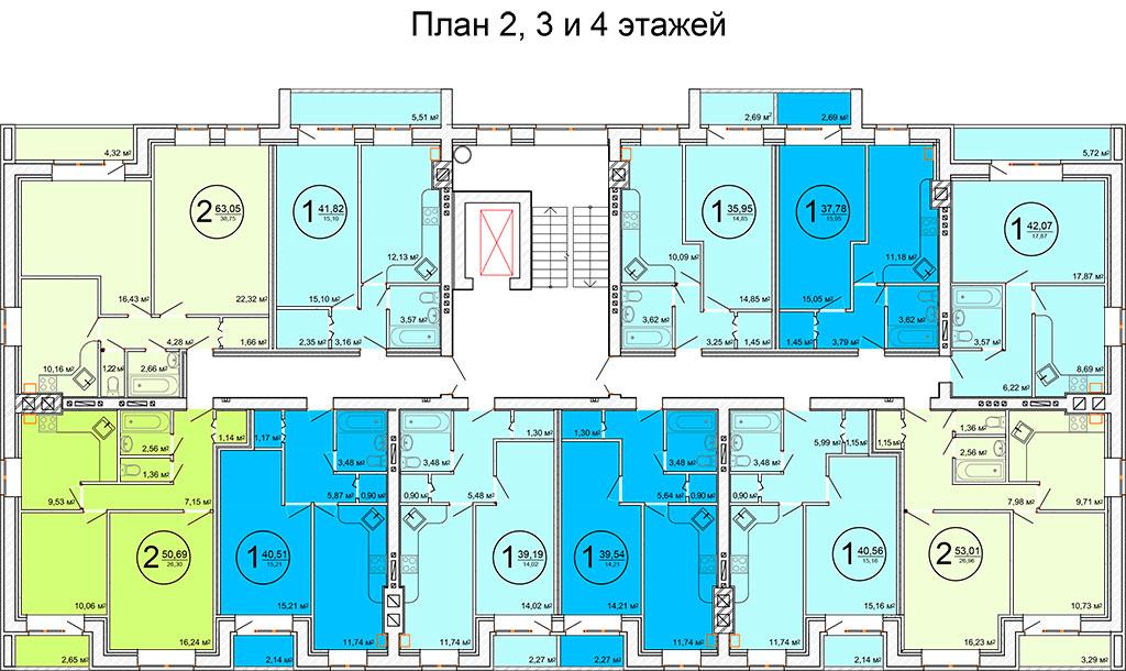 Планировка 2-3-4-го этажа жилого дома по улице Баженова