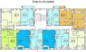Планировка 5-6-го этажа жилого дома по улице Баженова