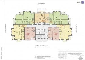 Планировка 10-го этажа 14-ти этажного дома ЖК ДВОРЯНСКИЙ