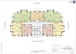 Планировка 11-го этажа 14-ти этажного дома ЖК ДВОРЯНСКИЙ