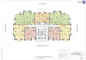 Планировка 13-го этажа 14-ти этажного дома ЖК ДВОРЯНСКИЙ