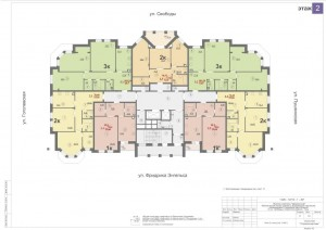 Планировка 2-го этажа 14-ти этажного дома ЖК ДВОРЯНСКИЙ