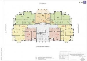 Планировка 3-го этажа 14-ти этажного дома ЖК ДВОРЯНСКИЙ