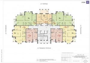 Планировка 4-го этажа 14-ти этажного дома ЖК ДВОРЯНСКИЙ
