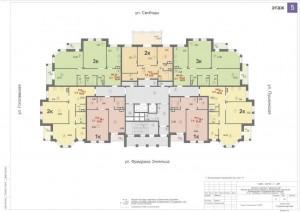Планировка 5-го этажа 14-ти этажного дома ЖК ДВОРЯНСКИЙ